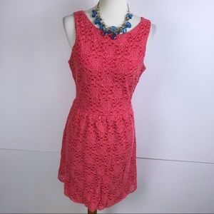 The Limited Coral Pink Floral Lace Skater Dress 10